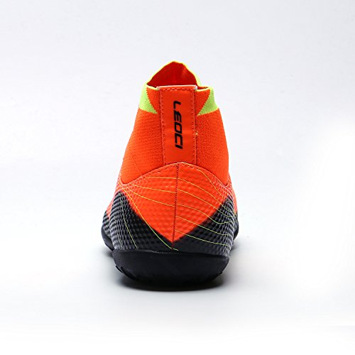 WAWEN Athletic Turf Indoor High Top Fußballschuhe Fußballtrainingsstiefel (Kid / Youth / Men) Orange