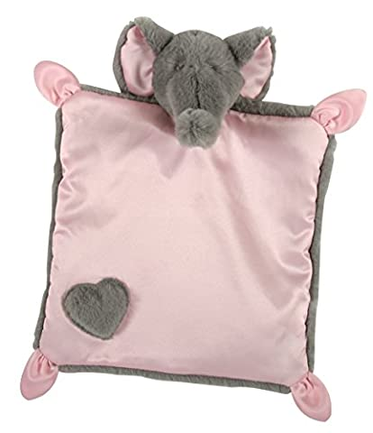 Stephan Baby Square Satin-Backed Plush Elephant Security Blanket, Gray/Pink, 10