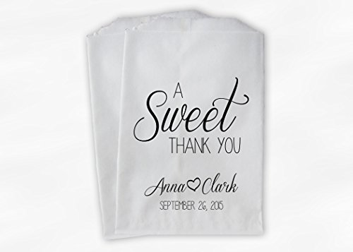 A Sweet Thank You Wedding Favor Bags for Candy Buffet in Black and White - Personalized Set of 25 Paper Bags (0153)