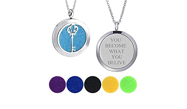Modogirl Aromatherapy Essential Oil Diffuser Locket Luck Key Necklaces You Become What You Believe