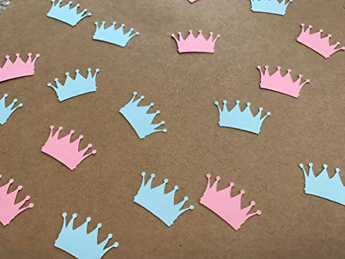 Blue and Pink Crown Confetti - Princess Party Decor - Princess Baby Shower Decor - Princess or Prince Decor - Gender Reveal Decor - Crowns - Royal Baby Shower - 200 pieces -