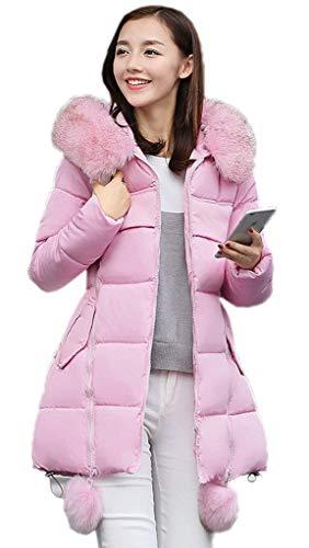 Doudoune Manteau avec Capuchon Fourrure Femme Hiver Chaud paissir Facile Spcial Style Slim Fit lgant Doudoune Quilting Blouson Parka Outdoor Parka Hiver Longues Pink