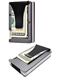 Minimalist Slim Wallet With Money Clip, Best RFID Blocking Credit Card Holder, Aluminum Metal Bifold for Men and Women