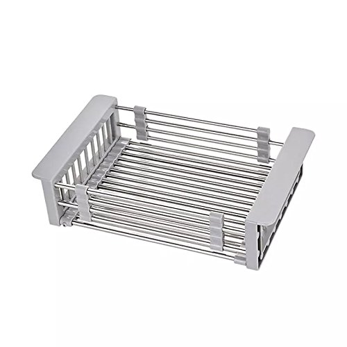 UNILLAP Dish Drying Rack Over Sink, Stainless Steel Dish Drainer with Adjustable Arms Holder Functional Kitchen Sink Organizer for Vegetable and -