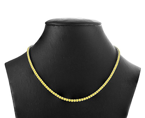 """16 Carat (ctw) 925 Sterling Silver Natural Real Round Cut Yellow Sapphire Tennis Necklace For Women 16"""" from Rare Earth Diamond Jewellery"""