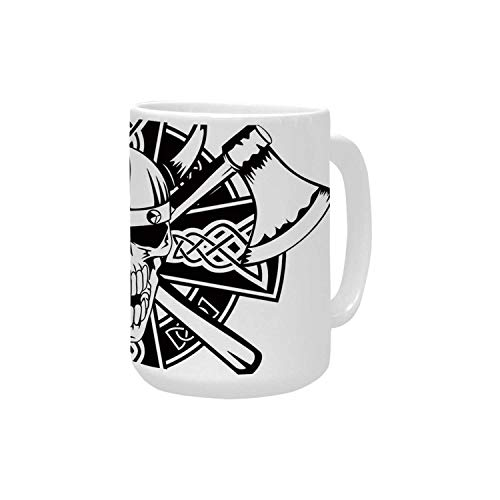 Celtic Ceramic Mug,Celtic Skull Knight with Cross Axes and Knives Medieval Europe Iron Age Graphic for Home,15OZ