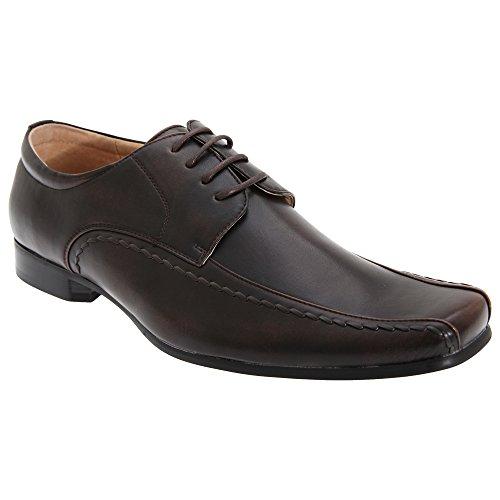 Goor - Zapatos lisos de vestir de piel con cordones Modelo Gibson puntera Chisel Hombre Caballero - Vestir / Trabajo Marrón oscuro