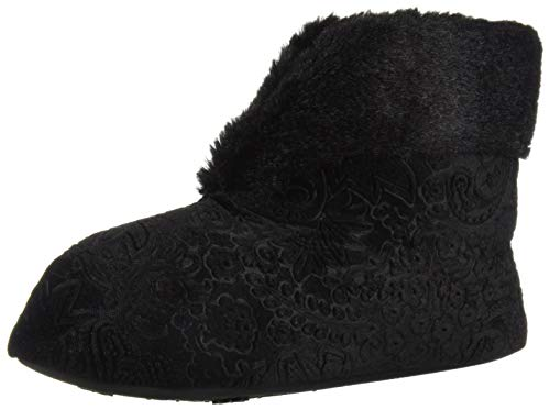 Dearfoams Women's Embossed Velour Bootie Slipper, Black, M Regular US (Black Slipper Boots For Women)