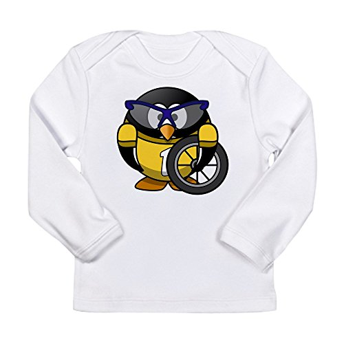Truly Teague Long Sleeve Infant T-Shirt Little Round Penguin - Cyclist In Yellow Jersey - Cloud White, 12 To 18 Months