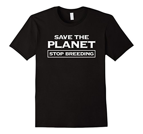 Mens Voluntary Human Extinction Movement T Shirt : Stop Breeding Medium Black
