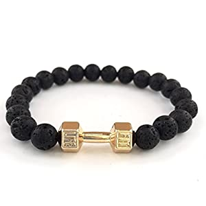 GOOD.designs Fitness Perlen-Armband aus Lava-Natursteinen, Hantel Anhänger in...