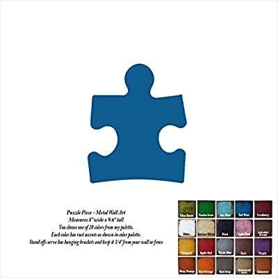 """8 inch wide - Autism Puzzle Piece - metal wall art - Handmade - Choose your patina color - 8"""" wide x 9.6"""" tall"""