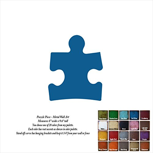 8 inch wide - Autism Puzzle Piece - metal wall art - Handmade - Choose your patina color - 8