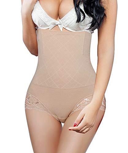 BRABIC Women Tummy Control Bodysuit Shapewear High Waist Panties Butt Lifter Shaper Slimming Waist Seamless Briefs (Beige, Medium/Large)