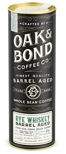 Rye Whiskey Barrel Aged Coffee - Whole Bean Coffee, Costa Rica Single Origin Whole Bean Coffee Aged in Rye Whiskey Barrels by Oak & Bond Coffee Co. - 10 oz