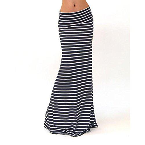 CHIDY Women Asymmetrical High Waist Striped Fold Over Stretch Long Maxi Skirt Stripe Elasticity Dress