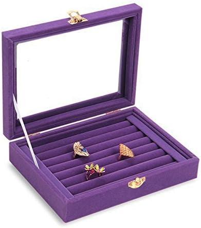 ジュエリー収納 リングケース 指輪 ベロア調 ピアスケース ディスプレイ 展示用 ジュエリーボックス ミラー付き 大容量 紫