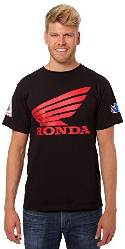 JH Design Honda Logo T-Shirt with American Flag Sticker Black Crewneck T-Shirt