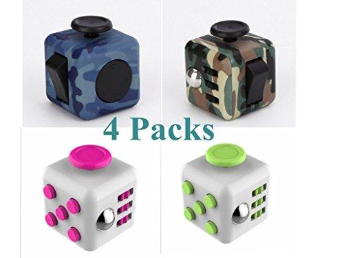 XHBoutique 4 Pack Anti-Anxiety Fidget Cube Set Focusing Fidget Toys Combos for Fidgeters ()