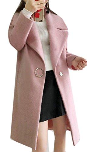 Gocgt Women's Long Sleeve Turn Down Collar Wool Coat Outwear 1