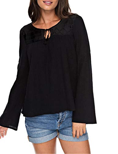 Blooming Jelly Womens Peasant Blouse Bell Sleeve Keyhole Shirt Tie Neck Lace Yoke Tops(M,Black)