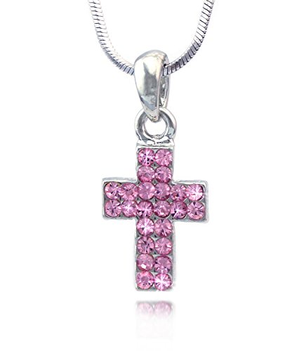 cocojewelry Small Cross Pendant Necklace Jewelry for Girls (Pink) -