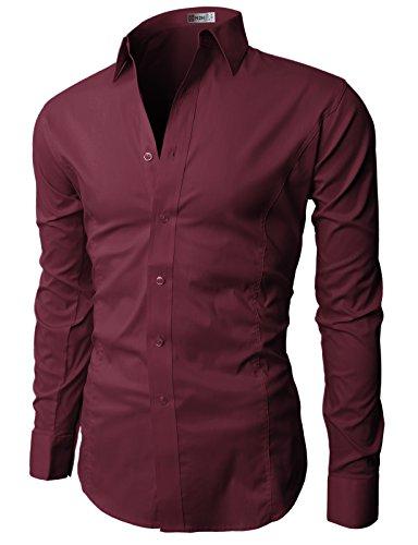 H2H Mens Dress Slim Fit Shirts Long Sleeve Business Shirts Basic Designed Breathable
