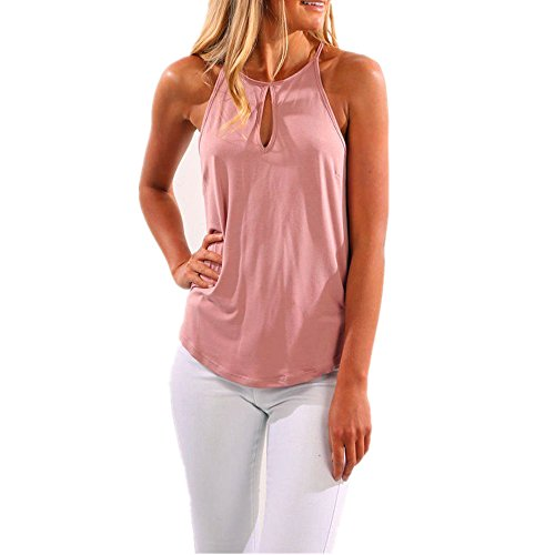 Magicmk Women's Tank Tops Flowy Casual Halter Loose Sleeveless Shirts (Pink, (Silk Halter Top Blouse)