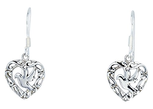 Silver Bird Earrings - Sabuy Jewelry Open Heart Bird inside Earrings for Woman's 925 Sterling Silver [ISE0206]
