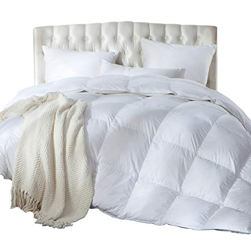 Luxurious King/California King Size Siberian Goose Down Comforter, Duvet Insert, 1200 Thread Count 100% Egyptian Cotton, 750+ Fill Power, 70 oz Fill Weight, 1200TC, White Solid (Oversized Ca King Down Comforter)