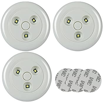 Super Bright Closet Lights Led Under Cabinet Lighting Tap Light Cordless Puck Lights Touch Light Nightlight 50 Lumen (Pack of 3 White Light)