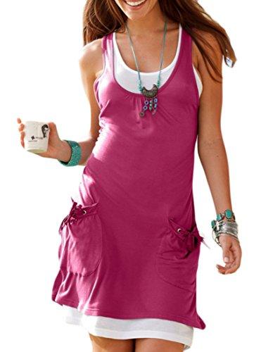 Sleeveless Beach Pockets Domple Tunic Round Dress Women Summer Tank Neck Red Wine EqTBAT