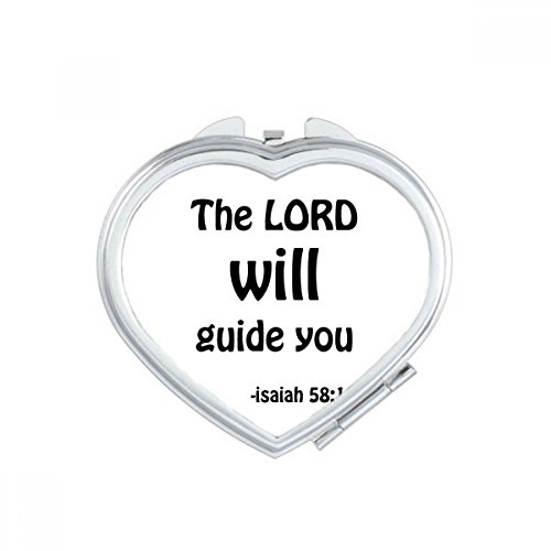 The LORD Will Guide You Christian Heart Compact Makeup Mirror Portable Cute Hand Pocket Mirrors Gift by DIYthinker