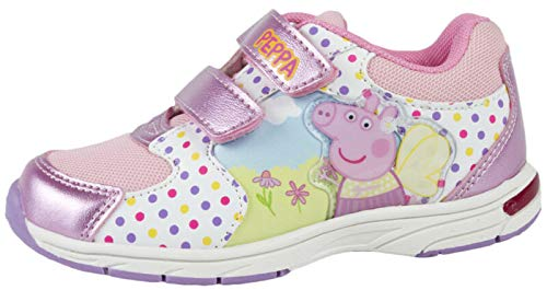 (tscml Girls Peppa Pig Pink Glitter Trainers Adjustable Straps Flat Sports Shoes Kids)