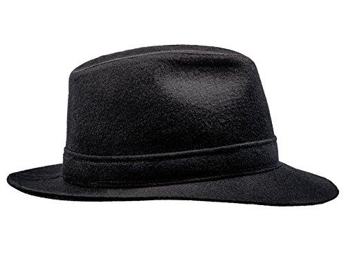 Sterkowski Woolen Sewn Corleone Fedora Vintage Hat US 7 1/8 Black - Vintage Fedora