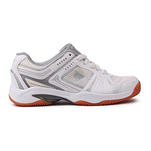 Dunlop Women Ladies Sports Training TPU Arch Lightweight Stable Squash Shoes New White - Weiß/Silber TGLNnQAZ2
