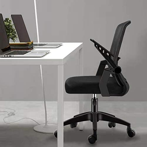 Office Chair fliping up armrest Computer Desk Chair Home Office Chairs Accent Chair Work Chair Height Adjustable Chair Black