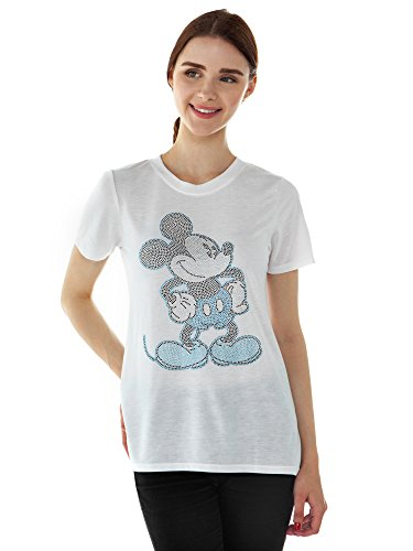 - Disney Women's Fitted T-Shirt Rhinestones Mickey Minnie Mouse (White, XL)