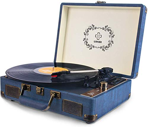 Record Player, LUKER Portable Suitcase Bluetooth Turntable for Vinyl...