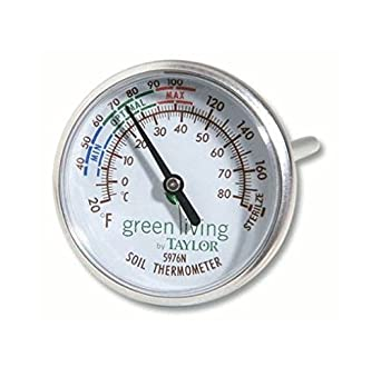 """Taylor Soil Testing Thermometer, 4"""" Stem, -20 to 180 Degrees F"""