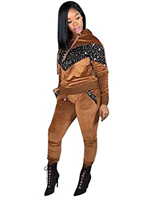 Adogirl Women Velour Glitter Sequin 2 Piece Outfit Sweatsuit Hoodies and Sweatpant Tracksuit with Pockets