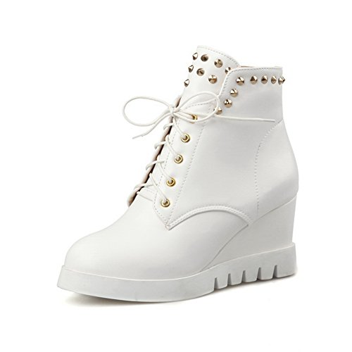 Round Womens Boots White Toe Leather Imitated Heels Rivet AdeeSu Kitten q64wISU