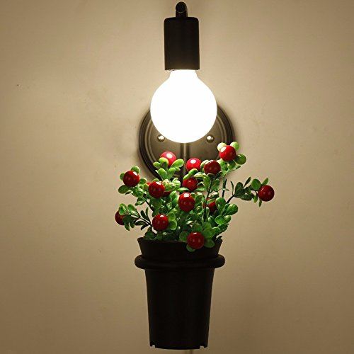 Industrial Vintage Wall Sconces Antique Flower Pot Plants Bonsai Garden Wall Lights Off Road Terrace Restaurant and Bar Coffee Shop Decorative Wall lamp