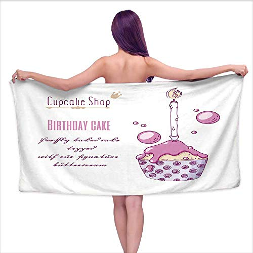 White Bath Towels Hand Drawn Festive Cupcake with Candle and Doodle Buttercream for Pastry Shop menu Special Birthday Flavor,W31 xL63 for Baby Girl