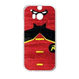 Custom Hard Plastic Back Protective Case For HTC One M8 (Laser Technology) - The Dark Knight Superhero Batman Batman And Robin Best Friends Red Background Personalized Phone Case