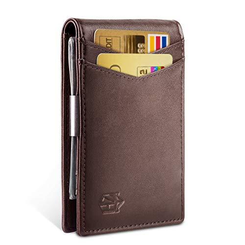 Money Clip Slim Wallet-Minimalist Bifold Front Pocket Wallet for Men,Card Holder Effective RFID Blocking (Using A Money Clip Instead Of A Wallet)