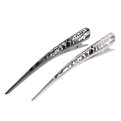 Large 5.1-inch Metal Duck Clips for Women by Lorian Hair Design | Fast Bun Maker Accessories, Flower Filigree Jaw Barrettes (Gunmetal/Silver)