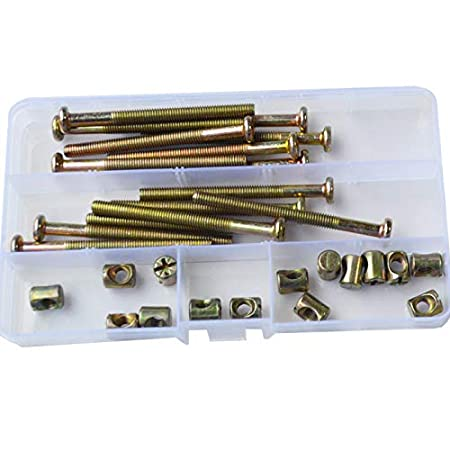 M6X15mm Furniture Barrel Screws Zinc Plated Metric Hex Drive Socket Cap Bolt Nuts Assortment Kit for Furniture Parts Cots Beds Crib and Chairs Bookcase Hardware 40pcs