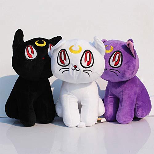 - LQT Ltd Stuffed Animals Kawaii Anime Sailor Moon Cat Luna Artemis Plush Toy Purple Black White Color 12