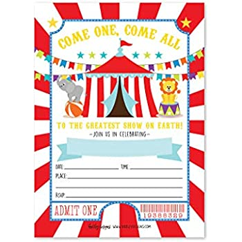 Vintage Girls Pink /& Purple Circus Carnival Childrens Birthday Party Invitations